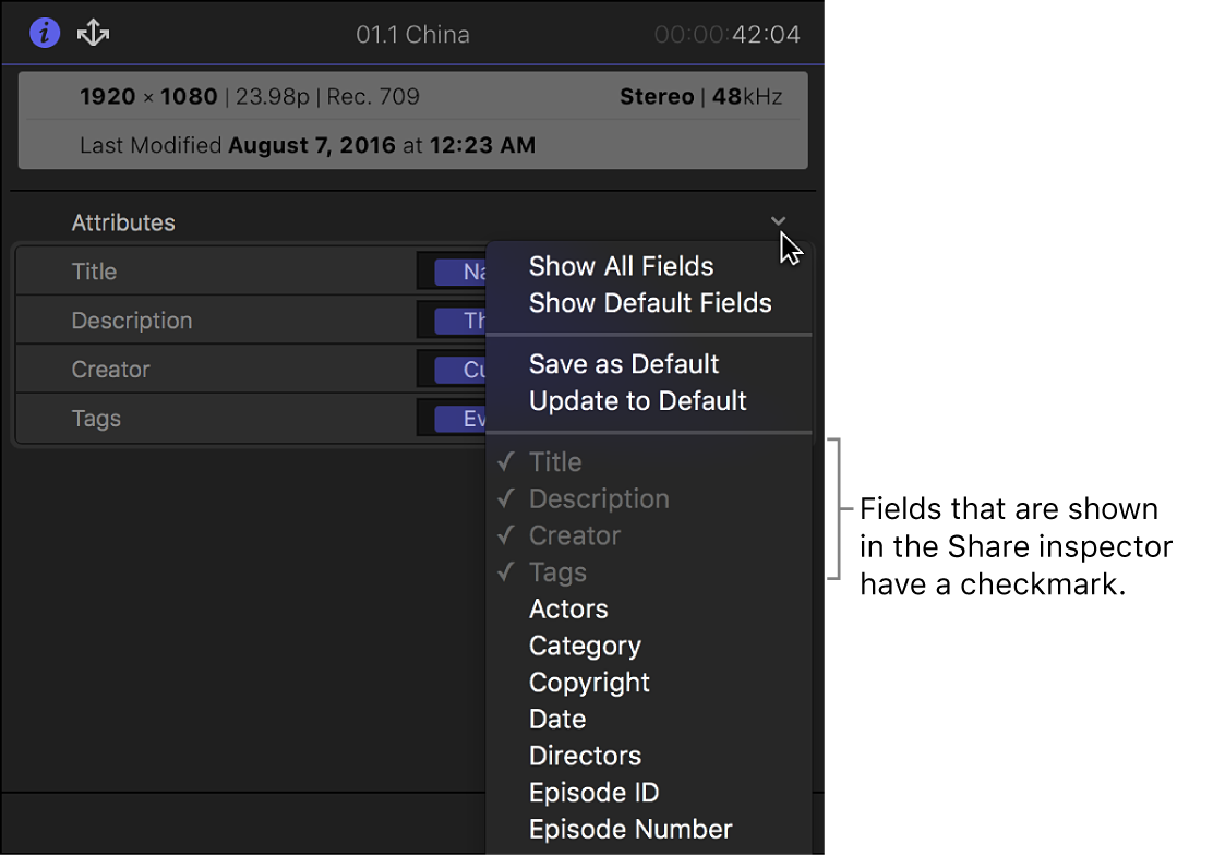 Options in the Attributes pop-up menu in the Share inspector