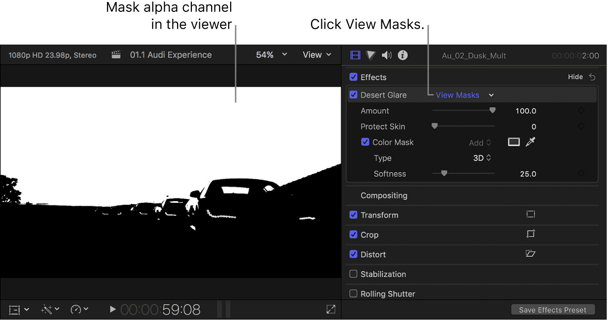 The viewer on the left showing a clip's color mask alpha channel, and the Video inspector open on the right