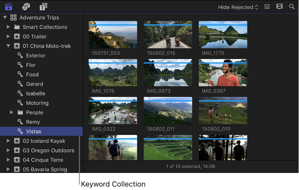 Una colección por palabra clave seleccionada en la barra lateral de bibliotecas y sus clips mostrados en el explorador