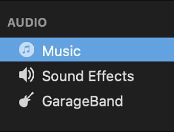 Music selected in sidebar