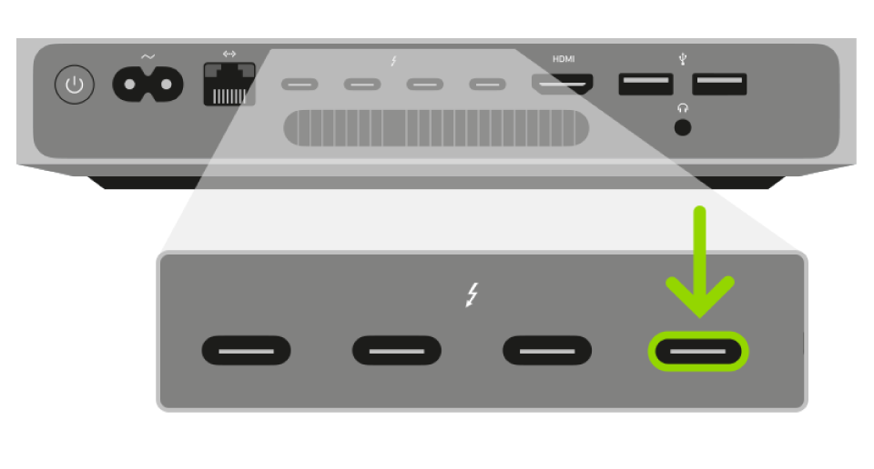 Un puerto Thunderbolt usado para restablecer el firmware del chip de seguridad T2 de Apple del Macmini.