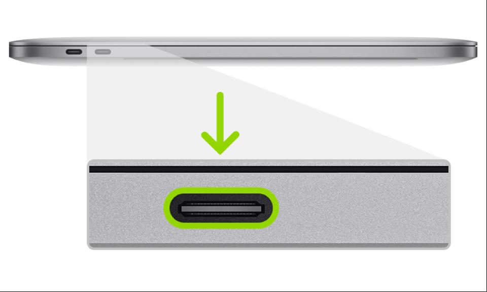 Un puerto Thunderbolt usado para restablecer el firmware del chip de seguridad T2 de Apple del MacBookPro.