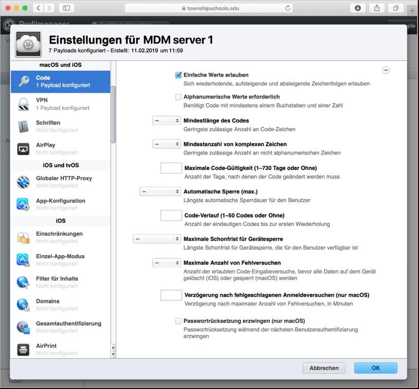 Optionen für macOS-, iOS- und iPadOS-Code und -Passworteinschränkungen im Profile Manager.