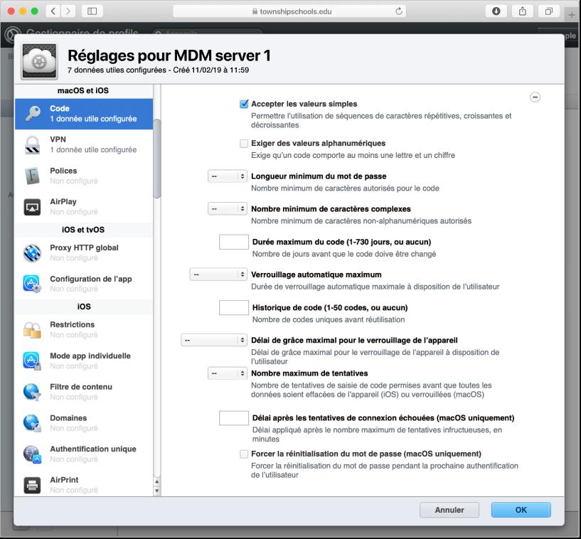 Options de restriction du mot de passe et du code macOS, iOS et iPadOS dans Gestionnaire de profils.