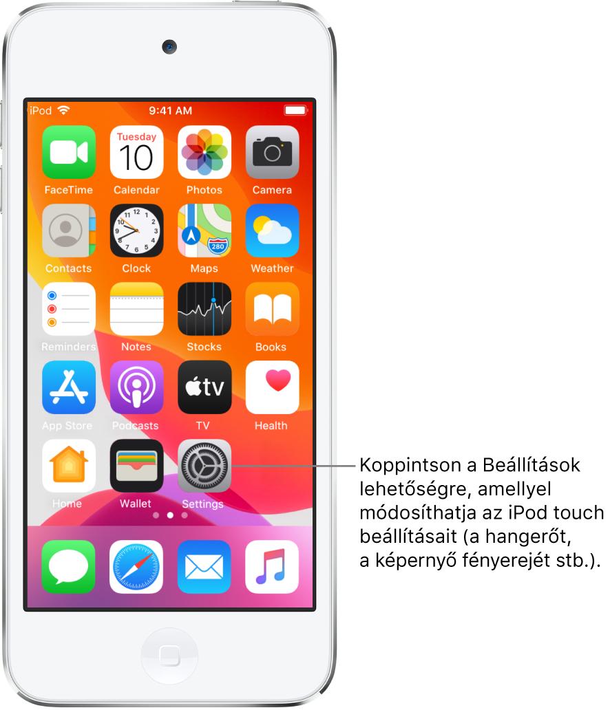 A főképernyő számos különböző ikonnal, többek között a Beállítások ikonjával. Az ikonra koppintva módosíthatja az iPodtouch hangerejét, a képernyő fényerejét stb.