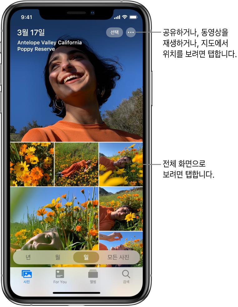 일별 보기로 표시된 사진 보관함. 사진 축소판 모음이 화면을 채우고 있음. 화면 왼쪽 상단에는 해당 사진을 찍은 날짜와 위치가 표시됨. 오른쪽 상단에는 사진을 공유하고 세부사항을 볼 수 있는 선택 및 추가 옵션 버튼이 있음. 축소판 아래에는 사진 보관함을 '년', '월', '일' 및 '모든 사진'으로 보는 옵션이 있음. 하단에 사진, For You, 앨범 및 검색 탭이 나열됨.