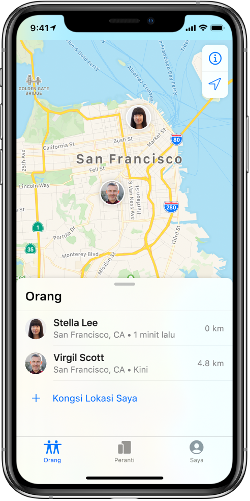 Terdapat dua rakan dalam senarai Orang: Stella Lee dan Virgil Scott. Lokasinya ditunjukkan pada peta San Francisco.