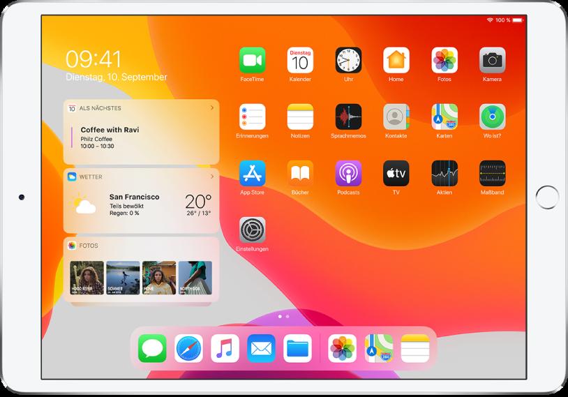 """Der Home-Bildschirm mit drei angehefteten Widgets auf der linken Seite. Es handelt sich um die Widgets """"Kalender"""", """"Wetter"""" und """"Fotos""""."""