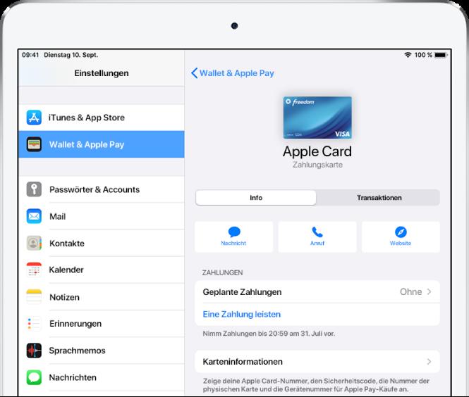Der Bildschirm mit den Details zu deiner Apple Cash-Karte. Oben rechts wird der Kontostand angezeigt.