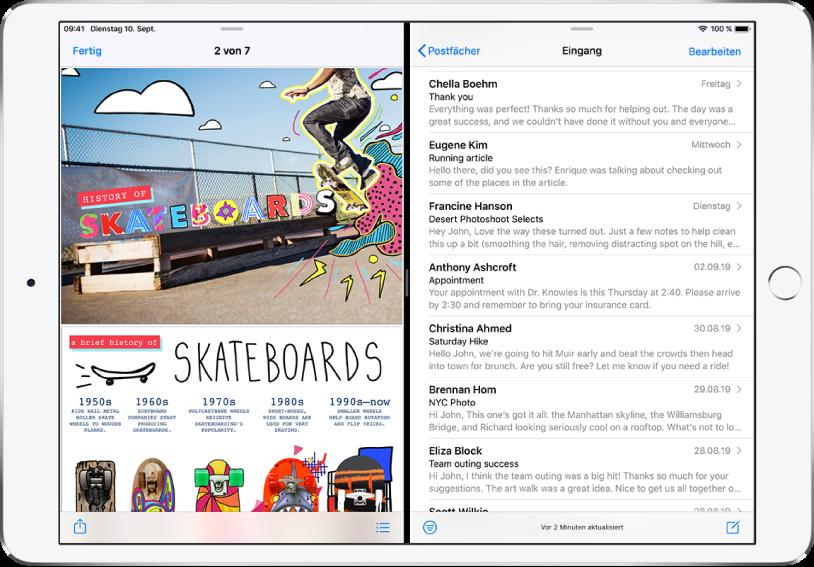 """iPad-Bildschirm im Split View. Auf der linken Seite des Bildschirms ist eine Präsentation geöffnet. Auf der rechten Seite ist die App """"Mail"""" geöffnet."""