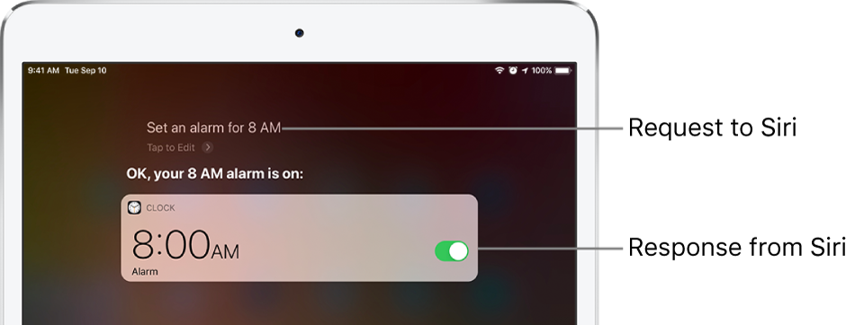 "The Siri screen showing that Siri is asked to ""Set an alarm for 8 a.m.,"" and in response, Siri replies ""The alarm's set for 8 AM."" A notification from the Clock app shows that an alarm is turned on for 8:00 a.m."