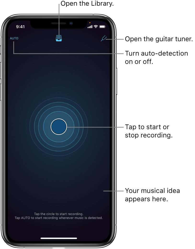 Figure. App screen when first open, showing Auto, Library, Tuner, and Record buttons.