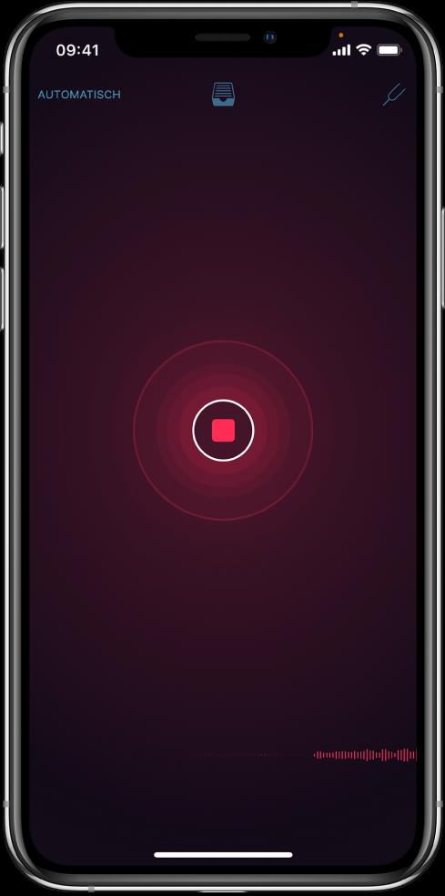 Afbeelding. Rode opnameknop zolang er opgenomen wordt.