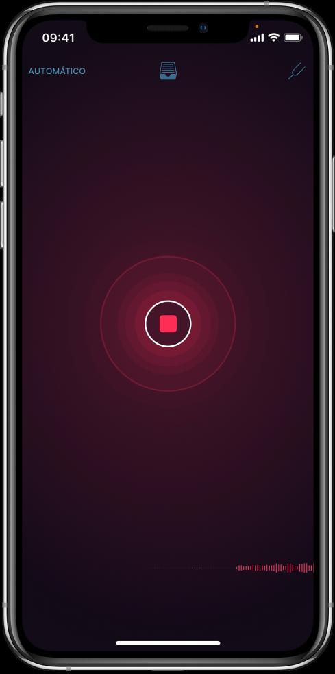 Figura. Botão Gravar vermelho com a gravação em andamento.