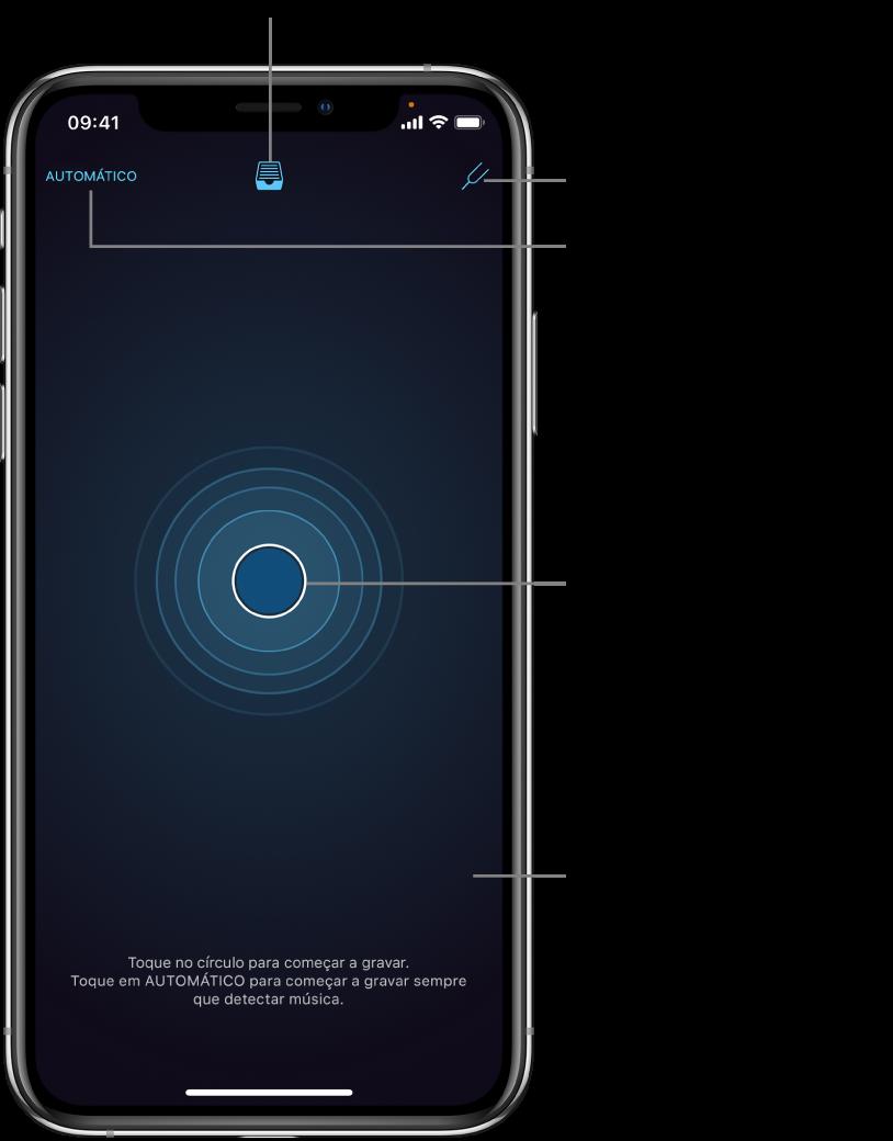 Figura. Tela do aplicativo ao abrir pela primeira vez, mostrando os botões Automático, Biblioteca, Afinador e Gravar.
