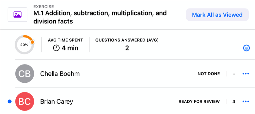A sample app showing the class progress percentage, average time spent and the average number of questions students answered for those who completed the activity. Also showing progress data for two students in the class.
