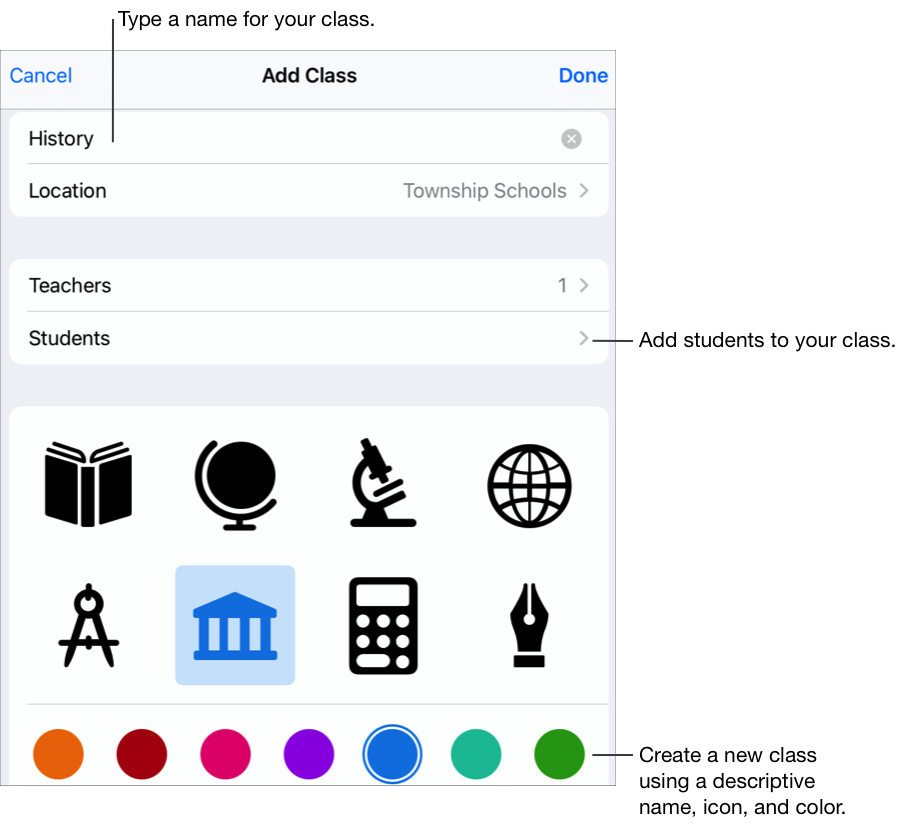 The Add Class pop-up pane showing the class name (History), no assigned students, and class icons and colours. Tap to add a name, additional teachers and students to your class. You can also select a custom icon and colour for your class.