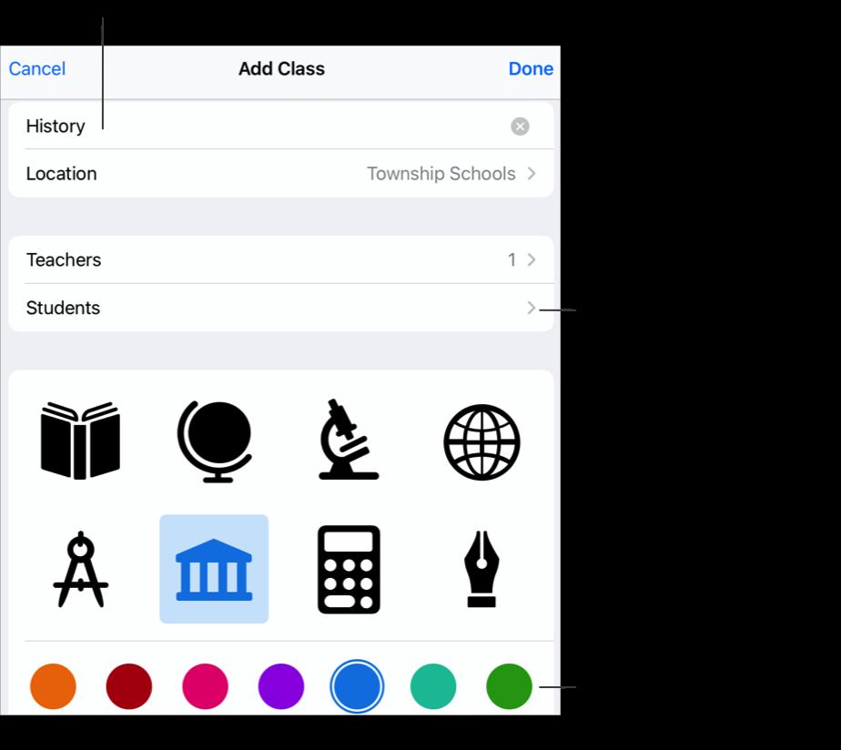"""El panel emergente """"Añadir clase"""" que muestra el nombre de la clase —History— sin alumnos asignados, y con iconos de clase y colores. Toca para añadir un nombre, más profesores y alumnos a la clase. También puedes seleccionar un icono y un color personalizados para tu clase."""