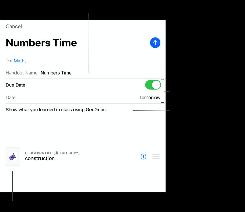 Exemple de la sous-fenêtre Nouveau devoir (Numbers Time) mentionnant la classe de mathématiques comme destinataire, le nom du devoir, une échéance fixée à demain, des instructions et une activité.