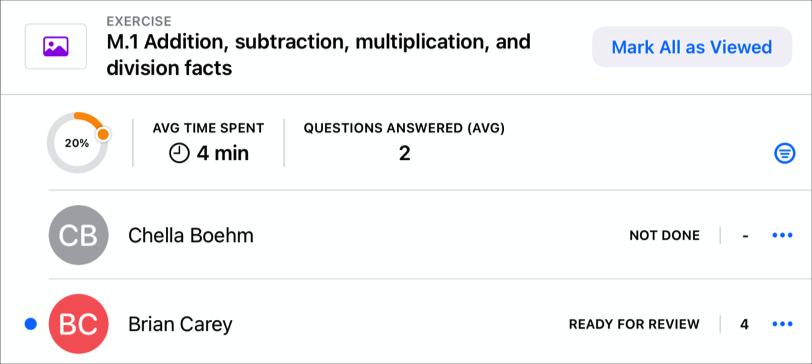 Deze voorbeeld-app toont het voortgangspercentage van de klas, de gemiddelde bestede tijd en het gemiddelde aantal vragen dat leerlingen hebben beantwoord voor die leerlingen die de activiteit hebben voltooid. Je ziet ook voortgangsgegevens voor twee leerlingen in de klas.
