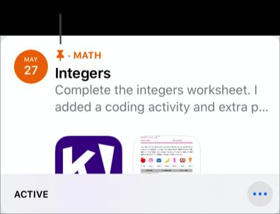 Een voorbeeld van een vastgemaakte opdracht (Integers). De icoon van een speld geeft een vastgemaakte opdracht aan.