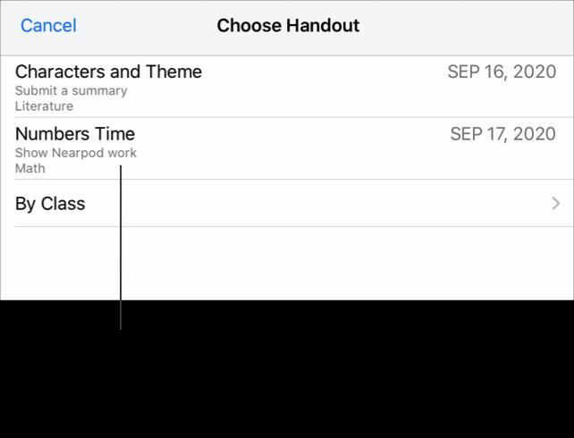 Et eksempel på Velg utdeling-popup-panelet som viser to utdelinger med forespurt arbeid (Characters and Theme, Numbers Time). Elever ser ikke utdelingsdetaljer når de leverer arbeid fra en app utenfor Skolearbeid, så det er viktig å gi arbeidet et beskrivende navn.