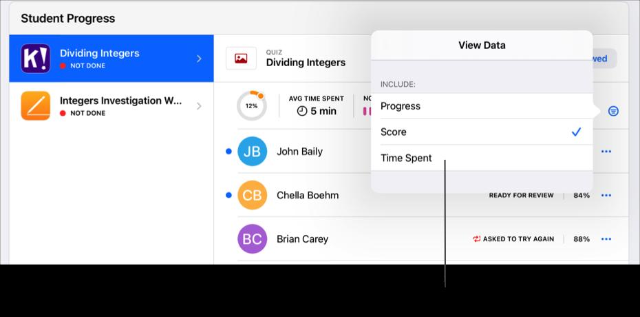 Przykładowa sekcja Postęp uczniów dla materiałów, wyświetlająca opcje filtrowania podsumowania postępu. Aplikacja Zadane wyświetla podsumowanie postępu dla wybranego zadania, gdy co najmniej jeden uczeń prześle postęp. Aby wyświetlić inne dane dotyczące postępu, stuknij wprzycisk Filtruj, anastępnie wybierz typ danych, które chcesz wyświetlić.