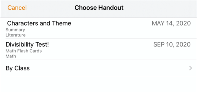 Use the Choose Handout pop-up pane when you're ready to submit your work to Schoolwork. To submit your document, tap the Handout where you want to submit your work.