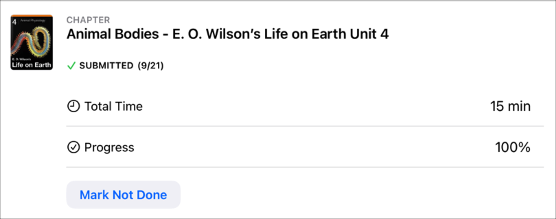 Una actividad de una app de muestra (Cuerpos de animales: La vida en la tierra de E.O. Wilson, unidad 4) donde aparecen la fecha en la que el estudiante envió la actividad, el tiempo total y el porcentaje de avance del estudiante, y el botón Marcar como sin terminar, que indica que el estudiante terminó la actividad.