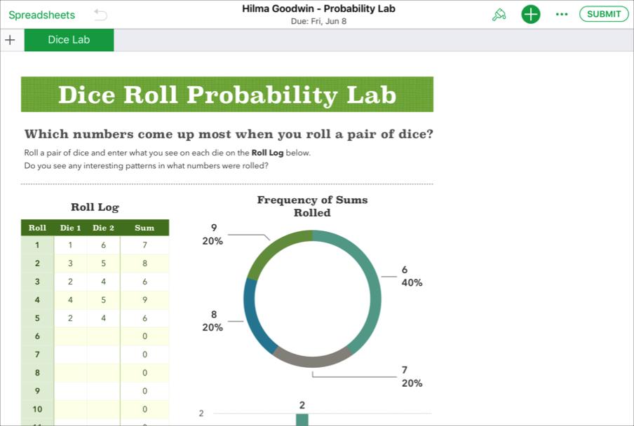 Példa egy tanuló által az iWork Numbers alkalmazásban készített kollaborációs fájlra – Hilma Goodwin -Probability Lab –, amely készen áll a Leckefüzetbe való beküldésre.