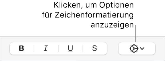 """Das Einblendmenü """"Erweiterte Optionen"""" rechts neben den Tasten """"Fett"""", """"Kursiv"""", """"Unterstrichen"""" und """"Durchgestrichen""""."""