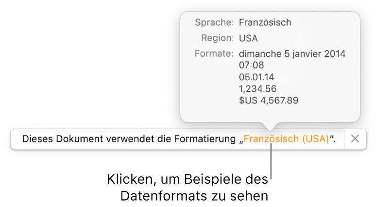 Die Mitteilung zur anderen Sprache und Region mit Beispielen der Formatierung in dieser Sprache und Region.
