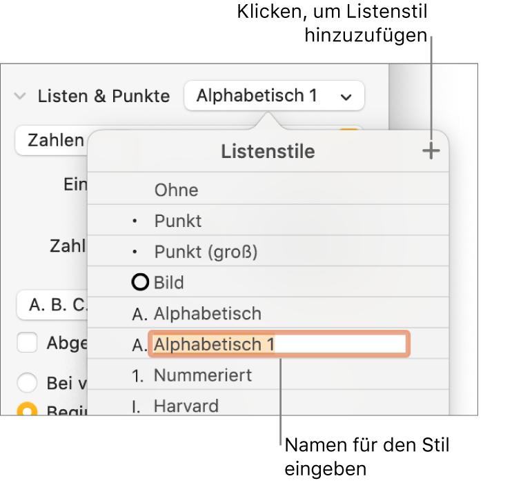 """Das Einblendmenü """"Listenstile"""" mit einer Taste """"Hinzufügen"""" oben rechts in der Ecke und einem Platzhalter für einen Stilnamen, dessen Text ausgewählt ist."""