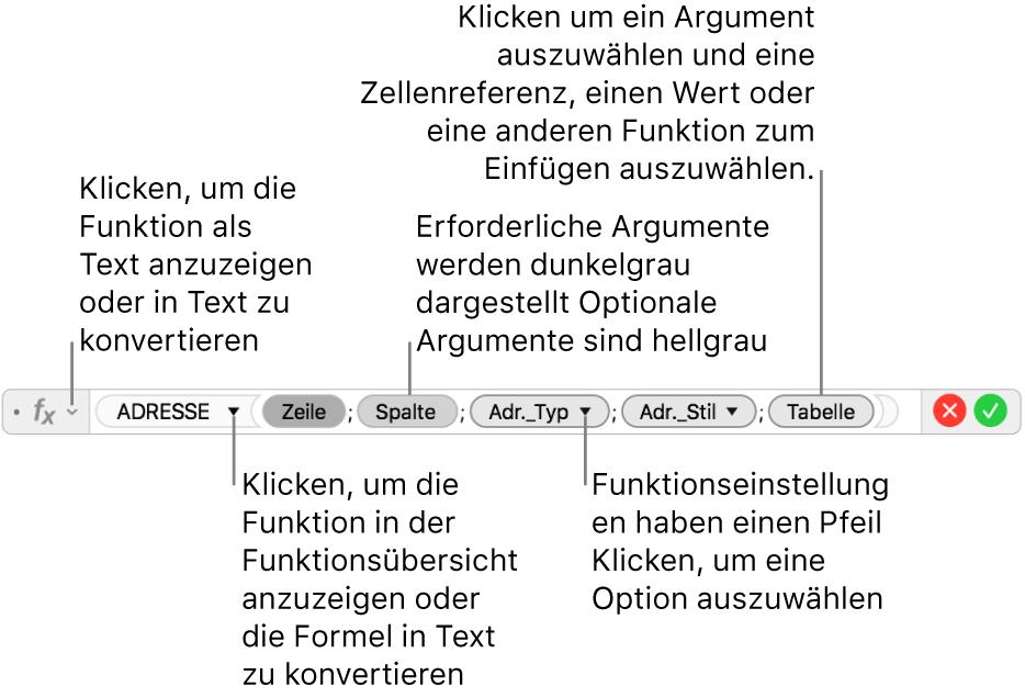 Der Formeleditor mit der Funktion ADRESSE und ihren Argument-Token