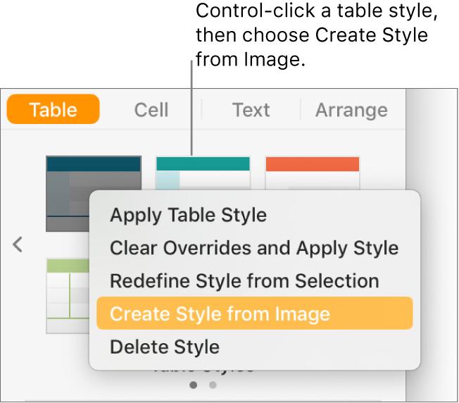The table style shortcut menu.