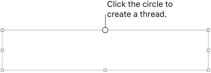 An empty text box with a white circle at the top and resize handles on the corners, sides, and bottom.