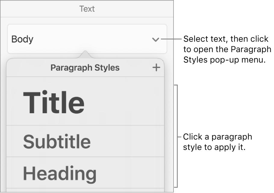 The Paragraph Styles menu.