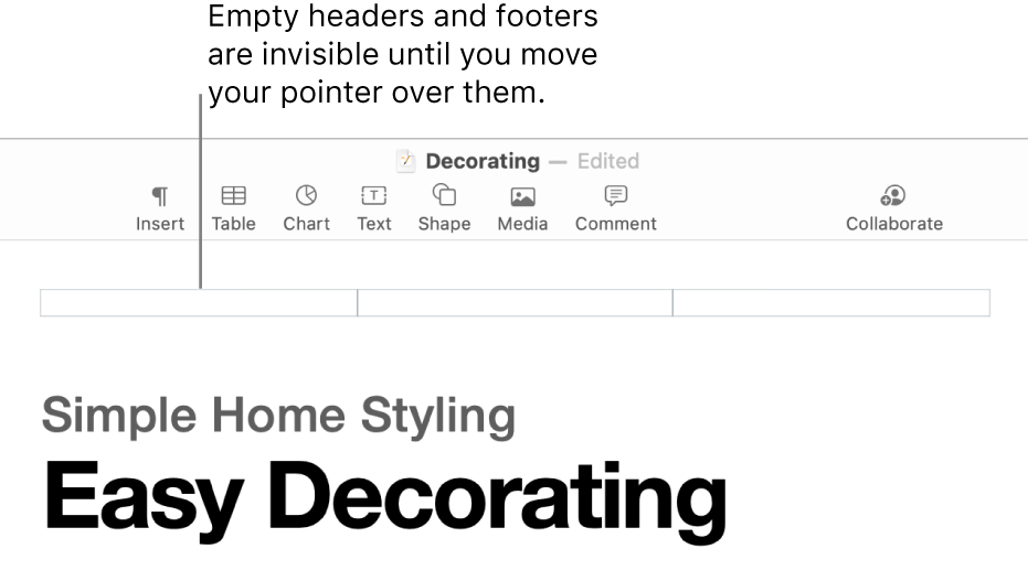 Three header fields above the title of a document.