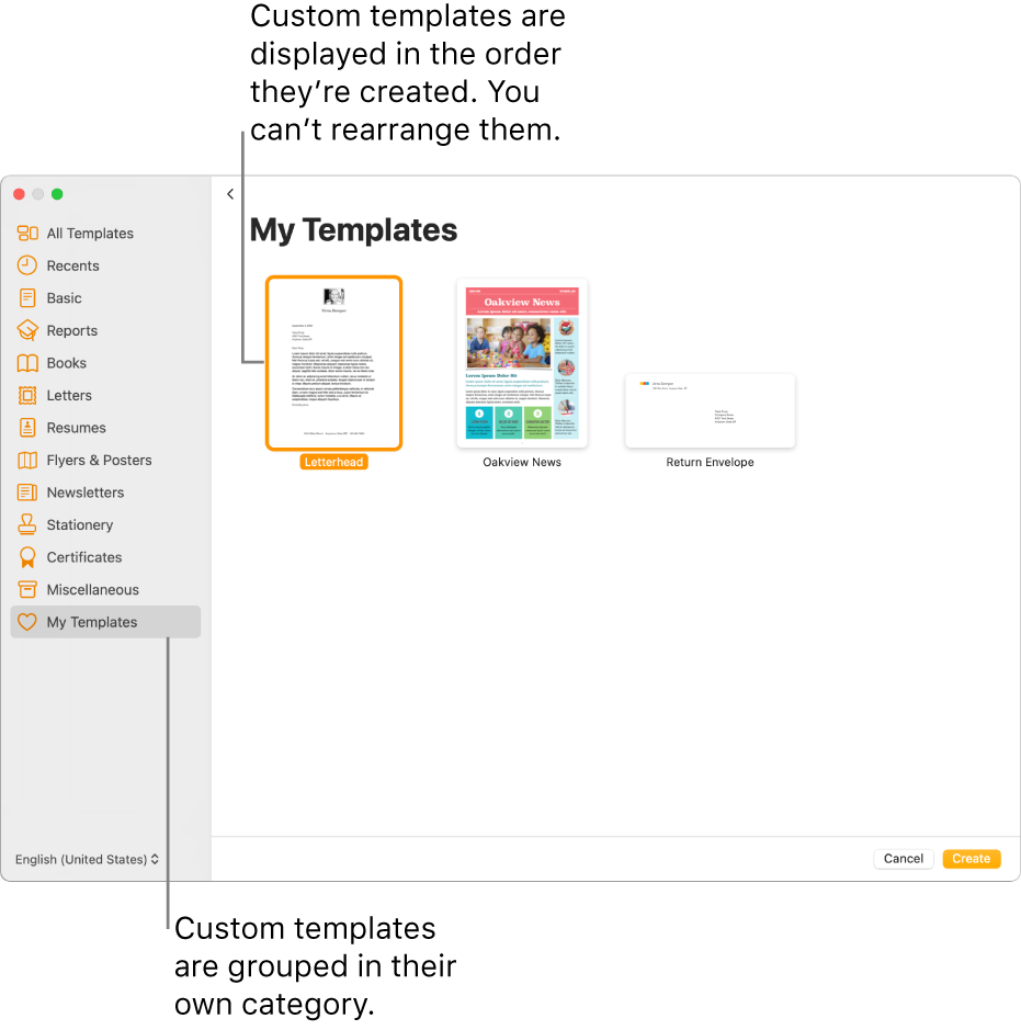The template chooser with My Templates as the last category on the left. Custom templates are displayed in the order they're created and can't be rearranged.