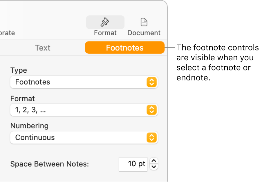 The Footnotes pane showing pop-up menus for Type, Format, Numbering, and space between notes.