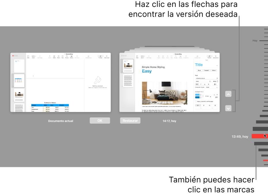 Control temporal de versiones que muestra el documento actual a la izquierda y una versión reciente a la derecha.