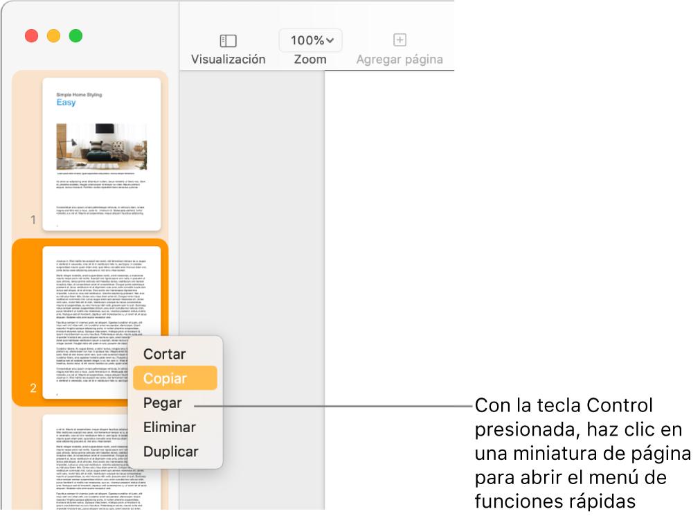 Visualización de miniaturas de página con una miniatura seleccionada y el menú de función rápida abierto.