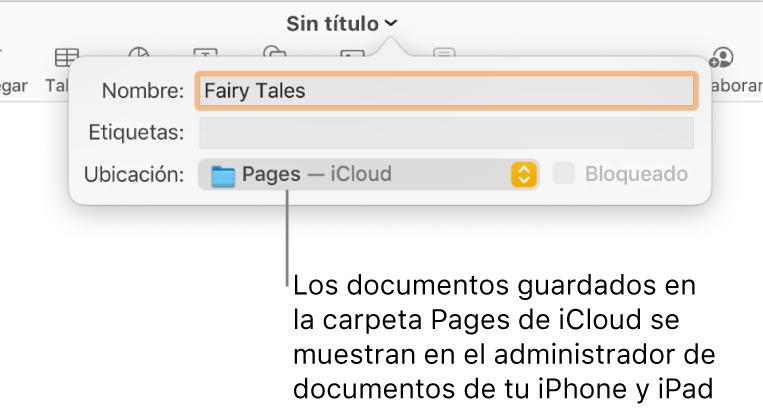 """El cuadro de diálogo Guardar de un documento abierto con """"Pages — iCloud"""" se encuentra en el menú desplegable Dónde."""