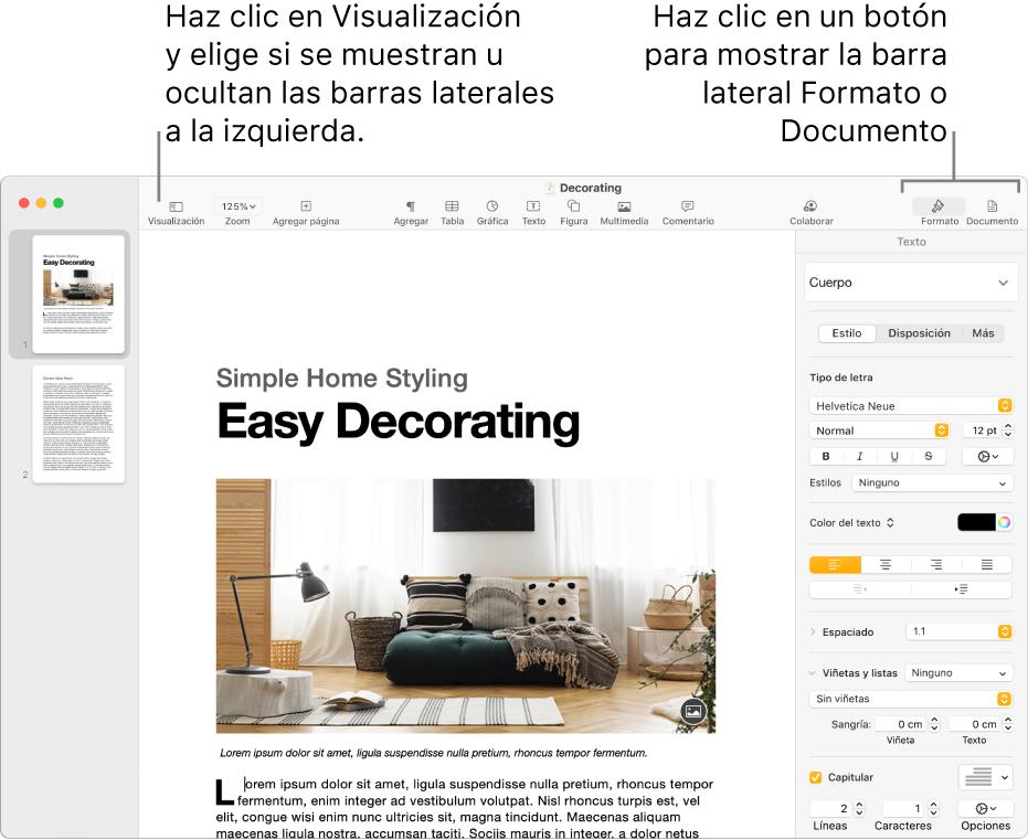 Ventana de Pages con mensajes en el botón del menú Visualización y en los botones Formato y Documento de la barra de herramientas. Barras laterales abiertas a izquierda y derecha.