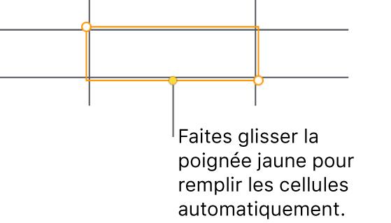 Une cellule sélectionnée avec une poignée jaune à faire glisser pour remplir automatiquement des cellules.