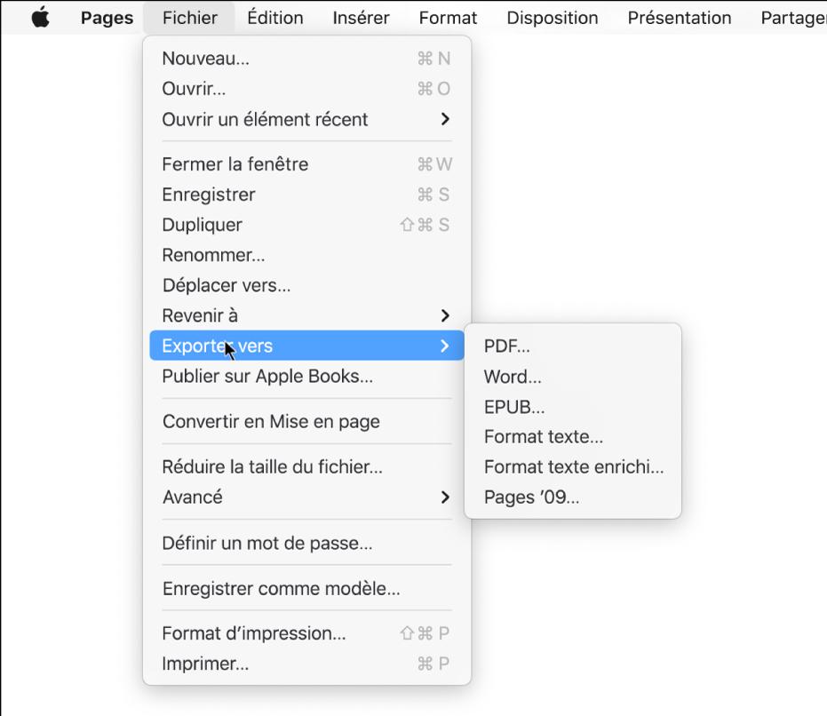 Menu Fichier ouvert avec l'option Exporter vers sélectionnée, le sous-menu affichant les options d'exportation PDF, Word, Format texte, Format texte enrichi, EPUB et Pages'09.