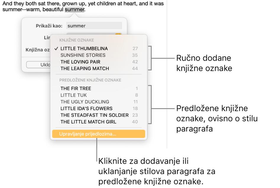 Popis knjižnih oznaka s ručno dodanim knjižnim oznakama na vrhu i predloženim knjižnim oznakama na dnu. Opcija Upravljanje prijedlozima je na dnu.