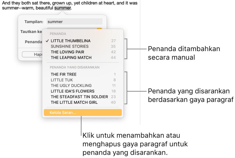Daftar penanda dengan penanda yang ditambahkan secara manual di atas dan penanda yang disarankan di bawah. Pilihan Kelola Saran berada di bagian bawah.