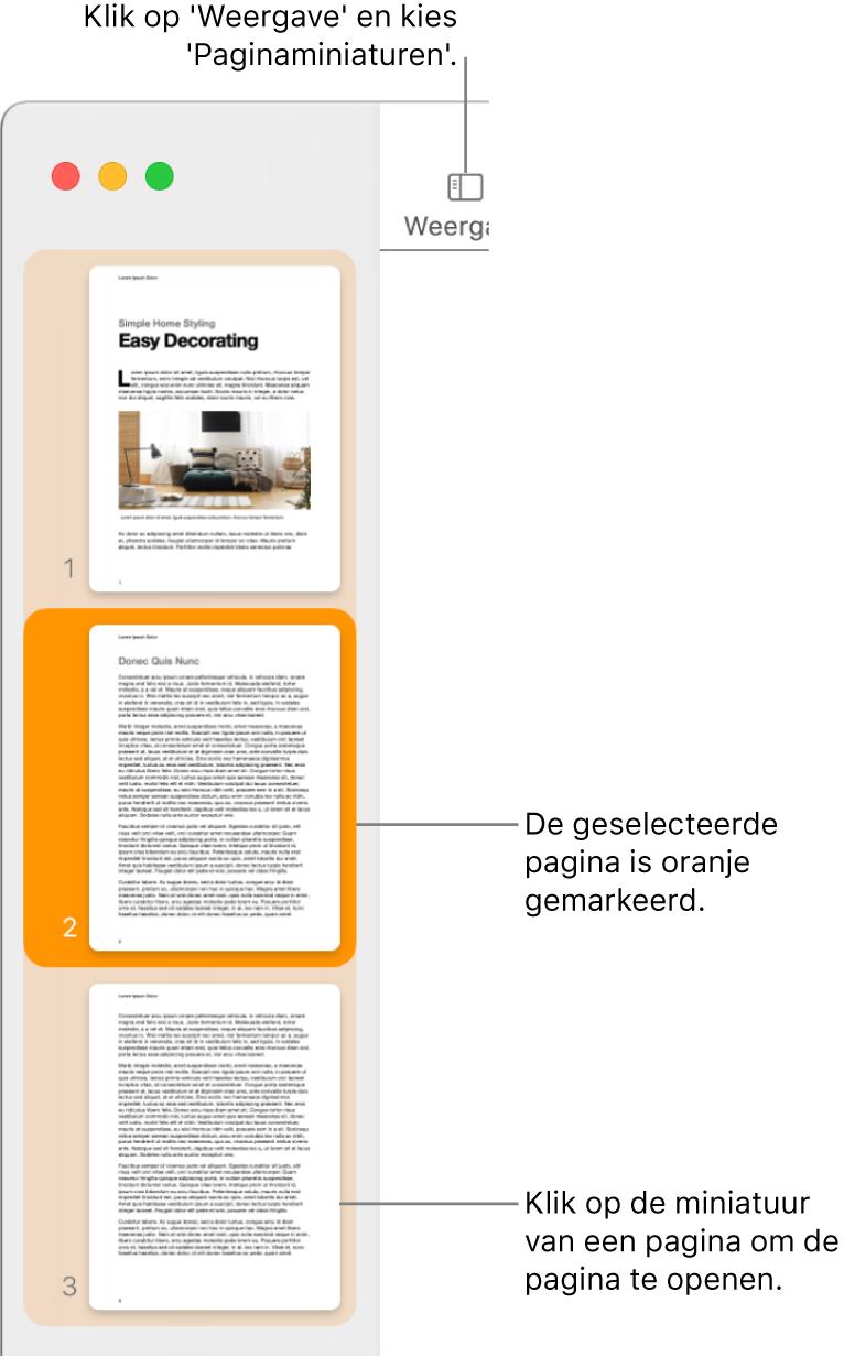 De navigatiekolom aan de linkerkant van het Pages-venster met daarin paginaminiaturen en een geselecteerde pagina die donkeroranje is gemarkeerd.