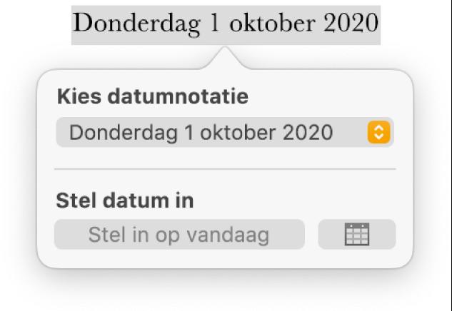 De regelaars voor datum en tijd met een venstermenu voor de datumnotatie en de knop 'Stel in op vandaag'.
